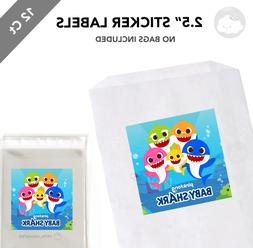 """12 Baby Shark 2.5"""" Square Sticker Labels for Bag Treat Box B"""