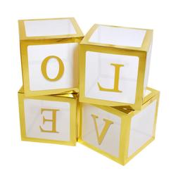 12'' Gold LOVE DIY Transparent Baby Shower Boxes for Baby Bi