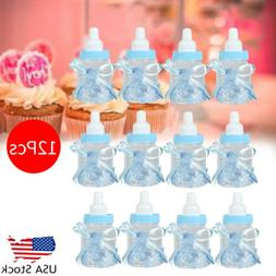 12PACK Fillable Bottles for Baby Shower Favors Blue Party De