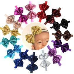 "15Pcs Baby Headbands Sparkly Glitter 4"" Big Hair Bows Baby G"