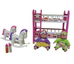 """for 18"""" American girl doll baby Twins+bunk Bed+ Toys Set"""