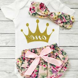 1st Birthday Outfits for Baby Girl Princess Romper+Panties S