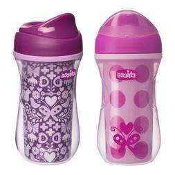 2 - 9oz Chicco Insulated Rim Cup Girl 12M+