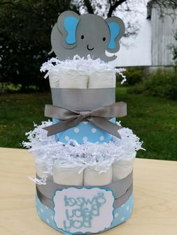 2 Tier Diaper Cake - Blue Elephant Theme Diaper Cake for Bab