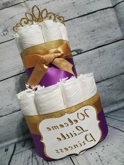 2 Tier Diaper Cake - Custom Royal Purple and Gold Princess