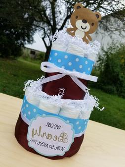 2 Tier Diaper Cake - Teddy Bear Theme Blue and Brown Diaper