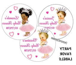 20 BABY SHOWER ROYAL PRINCESS STICKERS for FAVORS ~popcorn,