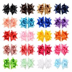 "20 Pcs 3"" Girls Grosgrain Ribbon Boutique Double Layer hairb"