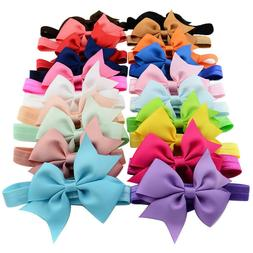20pcs 4 Inch Grosgrain Ribbon Hair Bows Headbands for Baby G