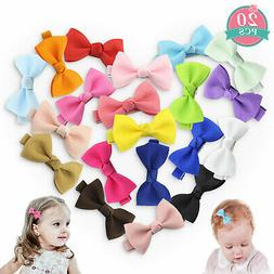 20Pcs Hair Bows Band Clip Grosgrain Ribbon Boutique Alligato