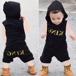 2PCS KING Sleeveless Hooded Top and Shorts Set Summer Outfit