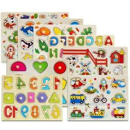 3-7T Baby Kids Letter Puzzle Wooden Animal Jigsaw Early Lear