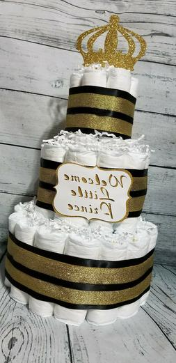 3 Tier Diaper Cake Black and Gold Custom Prince Theme Diaper