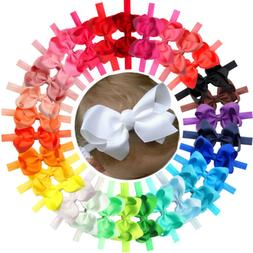 """30 Baby Girl Headbands With 4.5"""" Hair Bows HairBands for Inf"""