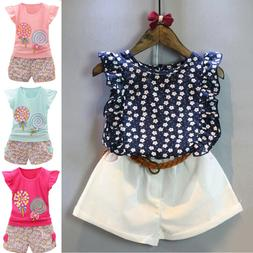 3PCS Girls Summer Outfit T-shirt Tops+Shorts Pants Set For T