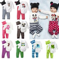 3Pcs Newborn Baby Unisex Kids Bodysuit Romper Tops Pants Hat