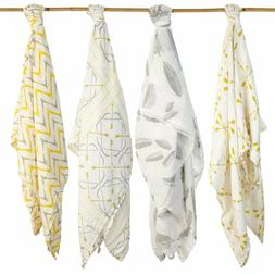 4 Pack Baby Swaddle Blanket Organic Cotton Bamboo Muslin Sil