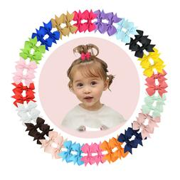 "40pcs Boutique 2"" Hair Bow Clips Fully Lined Clip for Baby G"