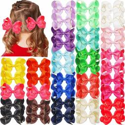 40Pieces Boutique Grosgrain Ribbon Hair Bows Alligator Hair