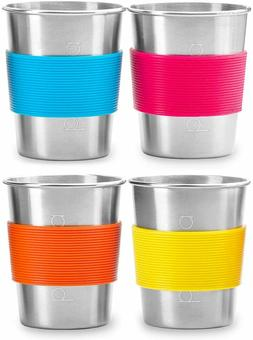 4pk 8oz Stainless Steel Cups for Kids, Toddlers, Sippy Cup f