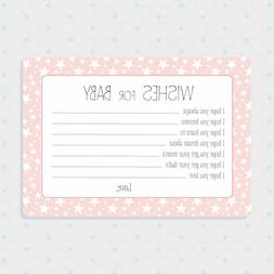 50 Pink Baby Girl Shower Cards, Wishes for Baby, Shower Game