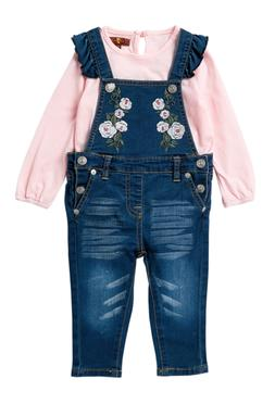 $65 7 For All Mankind Embroidered Overalls 2 Pieces Set  - 1