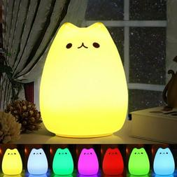 7 Color Changing Rechargeable Silicone Cat Night Light Baby
