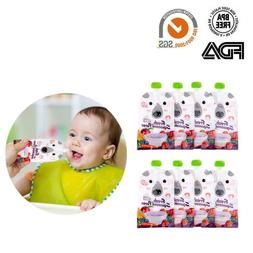 8 Pack Reusable Food Pouch. Refillable, Resealable, Baby Fri