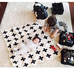 Baby Boy Blanket,CHICIEVE Black and White Swiss Cross Toddle