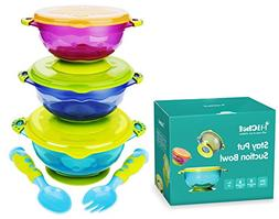 MICHEF Stay Put Suction Bowl, Spill Proof, Baby Bowls with S