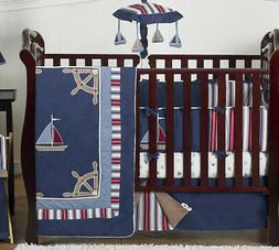 Sweet Jojo Designs 9-Piece Nautical Nights Blue and White Sa