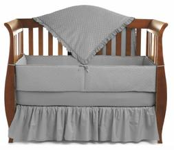 TL Care Heavenly Soft Minky Dot 4 Piece Crib Set, Gray, for