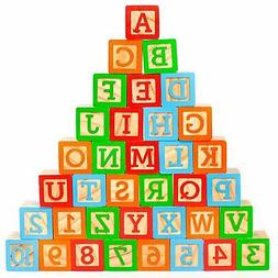 ABC Wooden Building Blocks for Baby. Large  Jumbo Size w/ Le