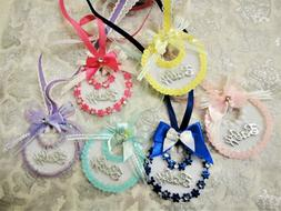 Charmed Adorable Baby Bib Necklaces for Baby Shower Games, F