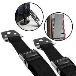 Anti-Tip Furniture & TV Straps 2 Pack | All Metal Parts | Du