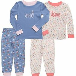 Asher & Olivia Pajamas for Girls 4 Pc Cotton Pj Set for Baby