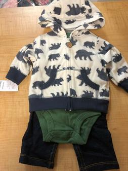 Baby BOY Carter's BEAR Microfleece Jacket, Bodysuit & Pants