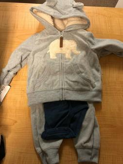 Baby Boy Carter's ELEPHANT Microfleece Jacket, Bodysuit & Pa
