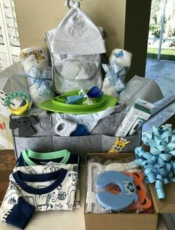 Baby Boy Gift Set Basket, X- Large Diaper Caddy for Baby Sho