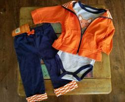 Yoga Sprout Baby-Boys 3 Piece Fox Track Jacket Bodysuit Pant