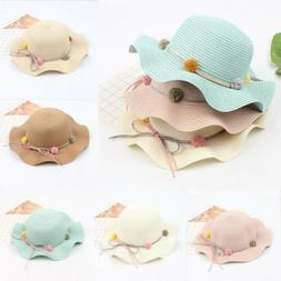 Baby Flower Fashion Straw Hats for Children Summer Beach Sun