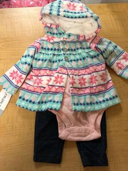 Baby GIRL Carter's PINK/AQUA Microfleece Jacket, Bodysuit &