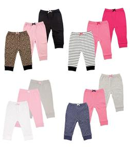 LUVABLE FRIENDS BABY GIRLS 3 PACK TAPERED ANKLE PANTS COTTON