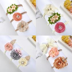 For Baby Girls Infant New 3Pcs Beauty Flower Bow Headband Ha