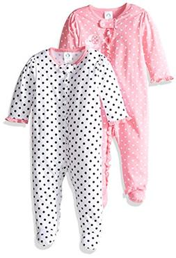 Gerber Baby Girls' 2 Pack Zip Front Sleep 'n Play,Elephants/