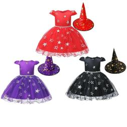 Baby Girls Star Pattern Dress With Witch Hat For Toddlers Gi