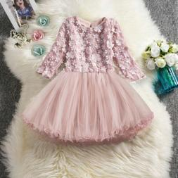 Baby Kids Long Sleeve Lace Flower Princess Dress For Girl To