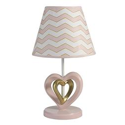 Lambs & Ivy Baby Love Pink/Gold Heart Lamp with Shade and Bu