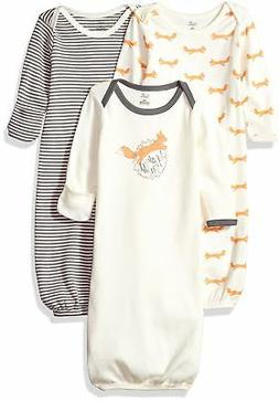 Touched by Nature Baby 3-pack Organic Cotton Gown, Fox, 0-6