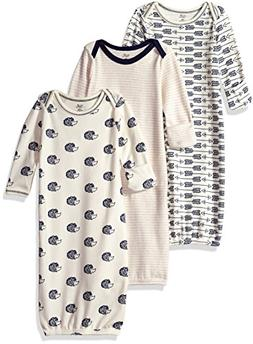 Touched by Nature Baby 3-Pack Organic Cotton Gown, Hedgehog,
